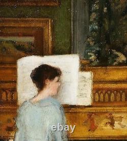 Tableau, piano, musique, impressionnisme, scène d'intérieur, France