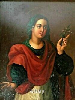 Tableau religieux (Pologne) représentant une sainte, seconde moitié du 18 ème