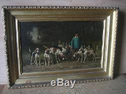 Tableau scène de chasse à courre huile sur bois de Théodore Lafitte