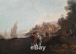 Tableau signé initiales allemand paysage RAMBERG attribué peinture panneau