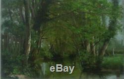 Tableau sous bois et rivière Huile sur carton école de Barbizon