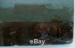 Tableau sur bois fin 19ème signé B Olive Bord de Mer