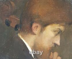 Tableau symboliste DUPONT violoncelliste musicien joueur violoncelle 19e