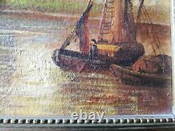 Tableau vue de Venise paysage marin animé huile sur toile encadré signé