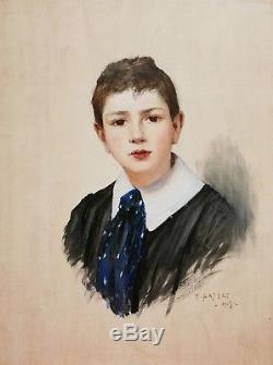 Tancrède BASTET peintre Grenoble tableau portrait jeune garçon enfant huile