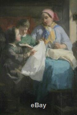 Théodore Gérard, 1829, Scène de Famille, Tableau intimiste, Cote jusque 27.000