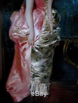 Theodore Levigne 1848-1912 Jeune Elegante Ds Le Gout De Watteau Ecole Lyonnaise