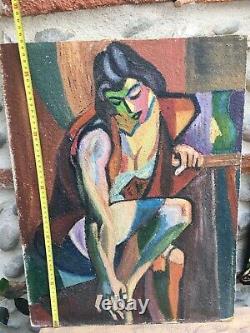 Très Belle Peinture Portrait Femme cubiste Huile Sur Panneau Hsp Dlg André Lhote