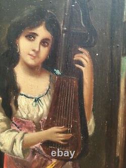 Très Belle Peinture femme portrait orientaliste sur panneau de bois signé Gerard