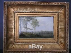 Très Jolie petite Huile sur bois Barbizon signée Jules Rozier 1821/1882 Gardienn