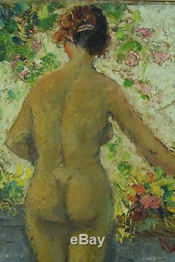 Trés beau Tableau Portrait nue Femme à la Fenêtre André Hardy Peintre Normandie