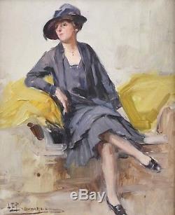 Très beau tableau. Elégante au chapeau. Alexandre BONNARDEL (1867-1942). Lyon