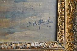 Très belle peinture Marine à l'huile XIXème sur bois, Signé par