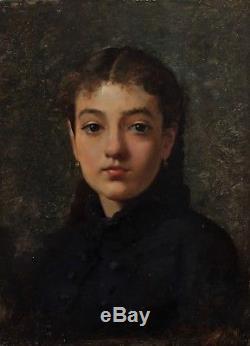 Très joli portrait de jeune fille 1880, Jules Nel-Dumouchel XIXè