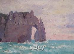 Très rare Marine Etretat Normandie impressionniste Proche Claude Monet vers 1900