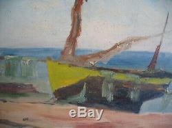 Très rare sujet & époque Marine Bateau Etretat Impressionnisme proche Monet 1900