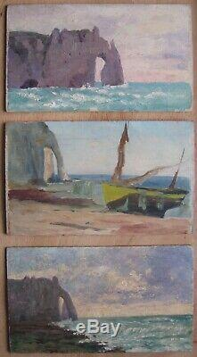 Très rare sujet et époque Etretat 2 Tableau impressionniste Proche Monet Marine
