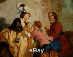 Très rare tableau ancien 18e siècle Suite Etienne AUBRY Vendu à Drouot Prix ebay