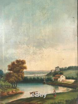 Trumeau XIXe Huile sur toile représentant un paysage animé