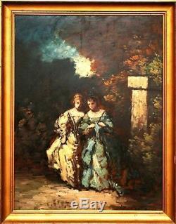 Une scène galante dans un parc Copiste de A. Monticelli