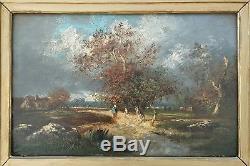 Victor Dupre 1816 1879 paysage Barbizon huile sur bois