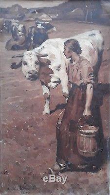 Victor Lhomme Gardienne Vaches Jeune Femme Paysage Francais Tableau Peinture 19e