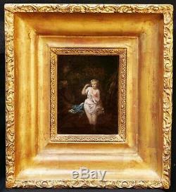 Victor Louis HUGUES tableau femme nue bain forêt Diane Salon 1859 école Barbizon
