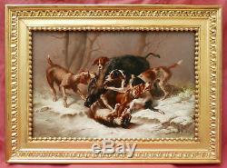 Victorien Joseph Bain Paire Tableau Scene Chasse Sanglier Loup Chiens Art France