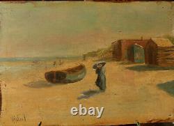 Vidal, peintre à identifier, scène de plage, huile sur panneau, début XXe
