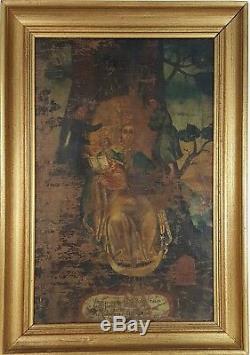 Vierge Avec Enfant. Huile Sur Toile. École Coloniale Xviiie-xixe Siècle