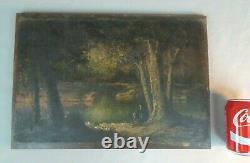 Vincent Manago (1880-1936) huile sur bois sous-bois barbizon forêt painting