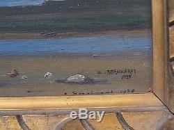 Voiliers, 1928. Tableau d' Eugène Bernhardt (1898-1984) élève de Cormon