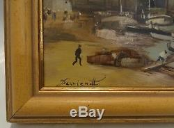 Vue du port de bordeaux huile sur bois signé