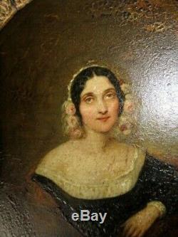 XIX Huile Sur Cuivre Portrait Dame Cadre Empire Bois Dore