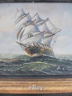 XIX° siècle AMBROSE HUILE SUR TOILE SIGNÉ CADRE BOIS MARINE