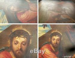 XIXe Jesus Christ Tableau Ancien Huile sur Panneau Bois Signé Chemin Croix 54x65
