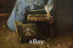 XIXe Siècle, Jeune dame au livre dans son intérieur, Signé A. Car. À identifier