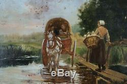 XIXe Siècle, Paysans, Jeune paysanne et ses oies, Barbizon, Signé, Dansaert