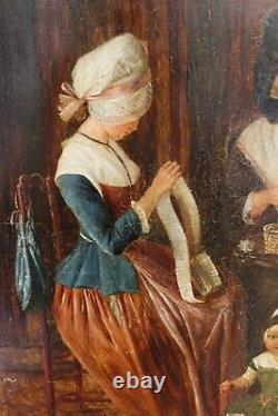 XVIIIe femmes enfant coiffe brodeuse broderie dentellières Velay cadre aux lions