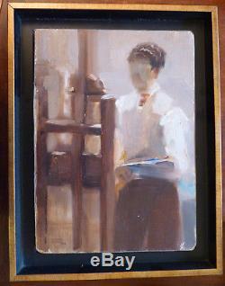 Yvonne DEWALS (XX) HsP Signée 1948 Auto-portrait / Ecole belge / Expressionnisme