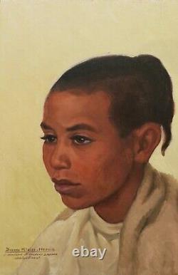 Yvonne KLEISS HERZIG tableau orientaliste portrait enfant jeune fille Algérie