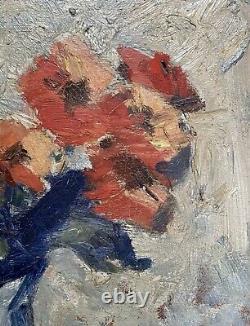 ZAWADWINSKY Czeslaw Huile s/ Panneau Nature Morte Bouquet Fleur Peinture Pologne